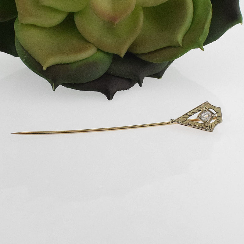 14k Yellow & White Gold Antique Ornate Diamond .06 tcw Stick Pin
