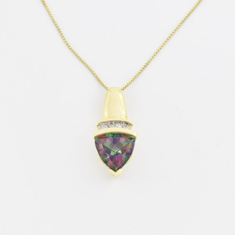 "10k Yellow Gold 18"" Box Link Mystic Topaz & Diamond Necklace"