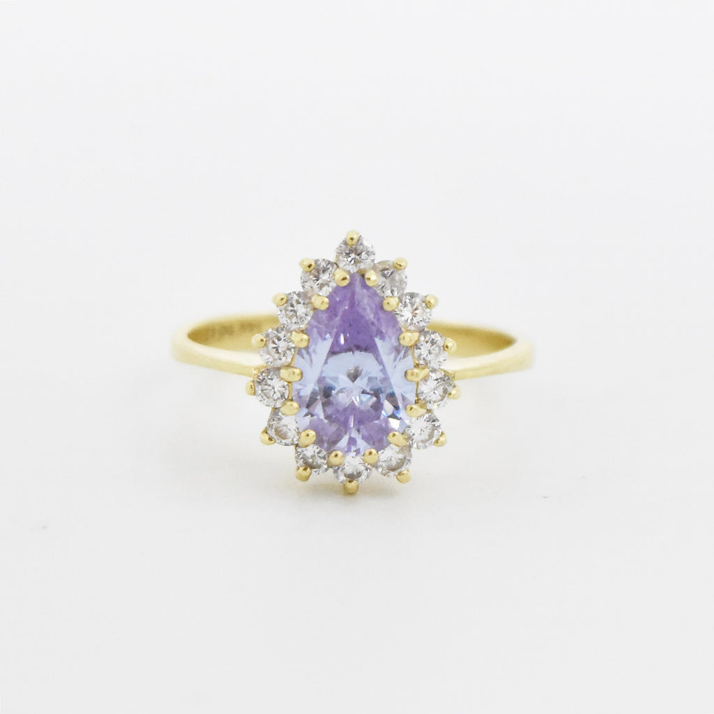 14k Yellow Gold Estate Teardrop/Pear Purple & White CZ Ring Size 9