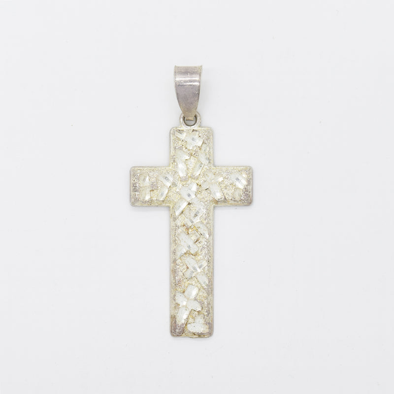 Sterling Silver 925 Estate Diamond Cut Textured Cross Pendant
