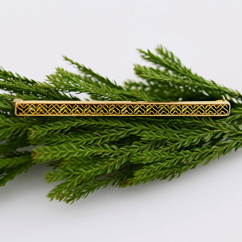 10k Yellow Gold Antique Filigree Bar Pin