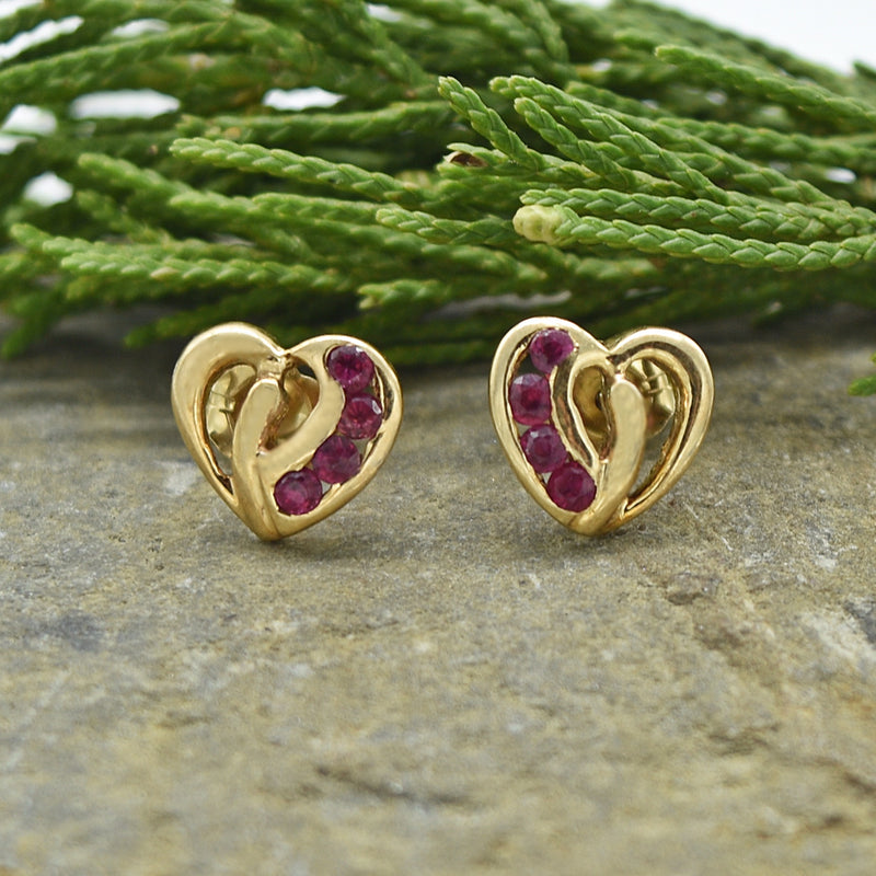 14k Yellow Gold Estate Ruby Open Double Heart Post Earrings
