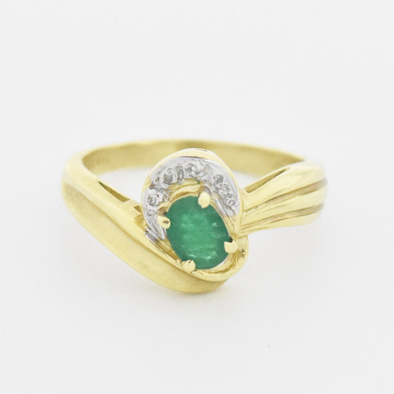 14k Yellow Gold Estate Emerald & Diamond Swirl Ring Size 6.25
