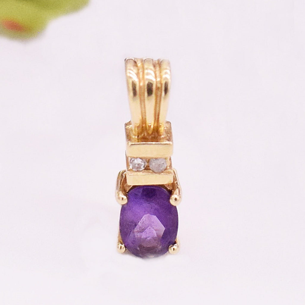 14k YG Textured Oval Amethyst & Diamond Pendant