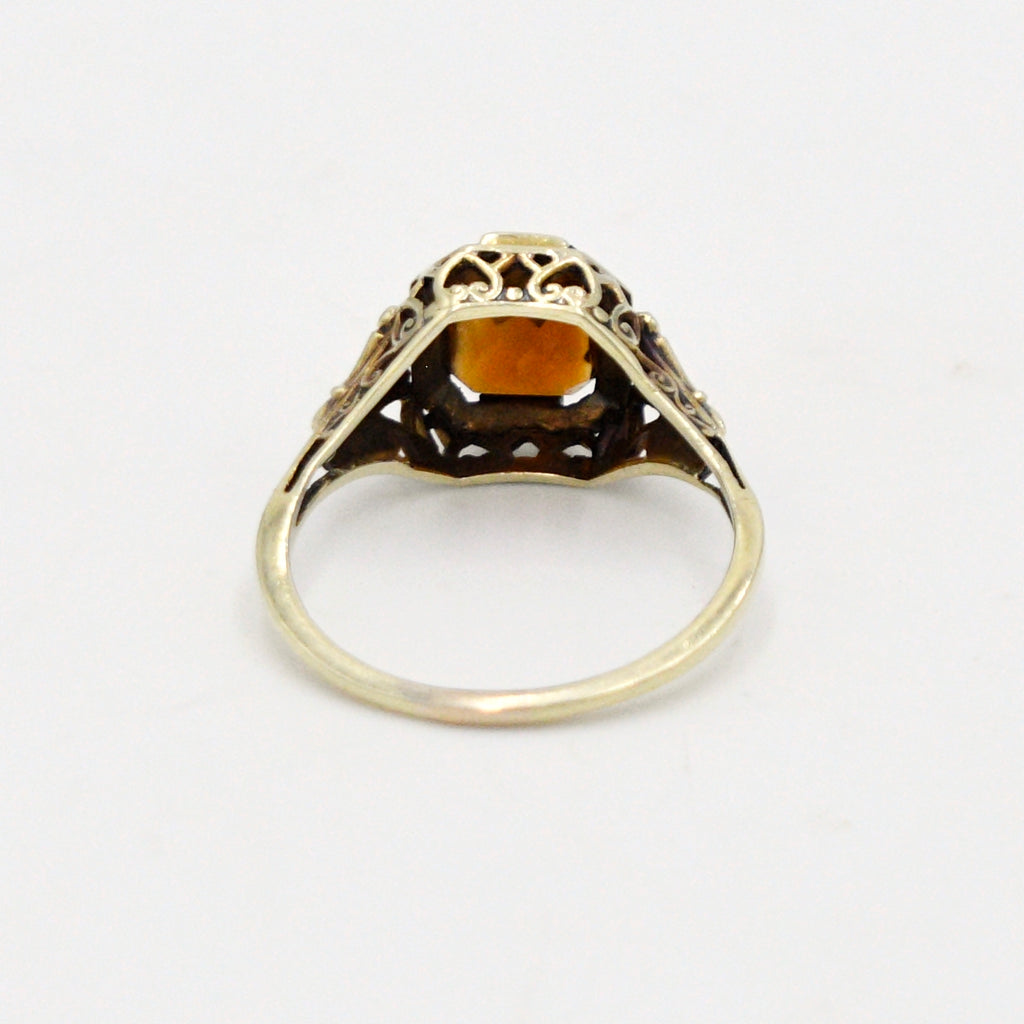 14k Yellow Gold Antique Filigree Citrine Ring Size 8.25