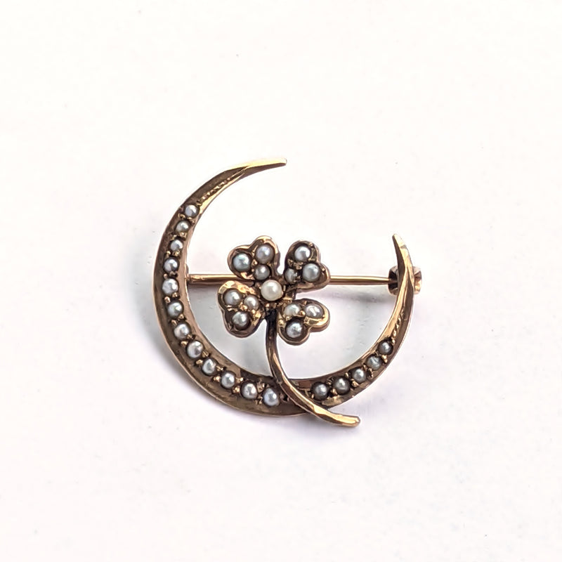 10k Yellow Gold Antique Moon & 4 Leaf Clover Lucky Pearl Pin/Brooch