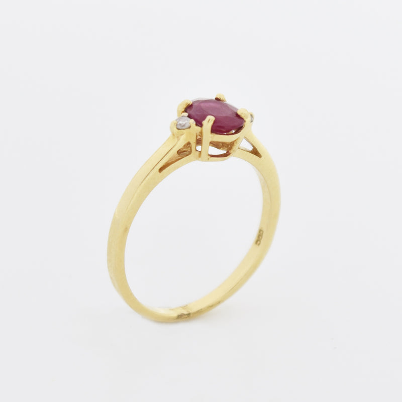 14k Yellow Gold Estate Open Work Oval Ruby & Diamond Ring Size 7.25