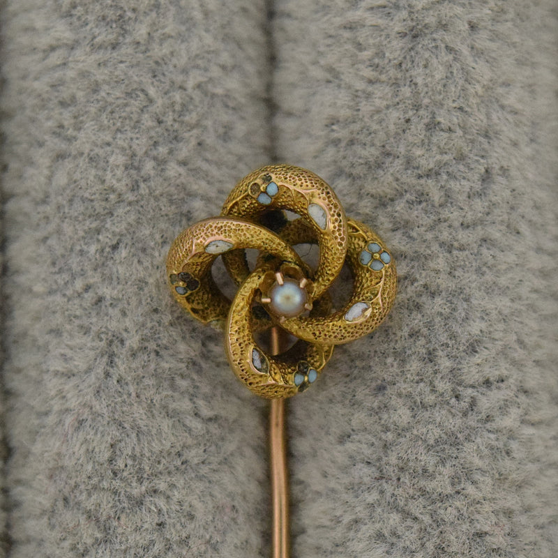 10k Yellow Gold Antique Enamel Pearl Love Knot Stick Pin