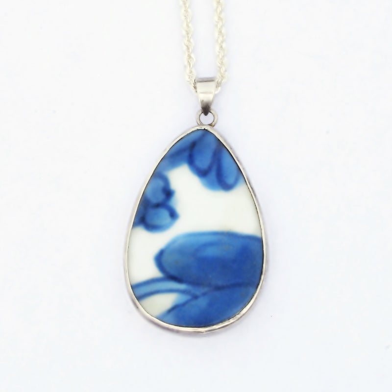 Sterling Pear/Teardrop Blue & White Larimar Gemstone Necklace 19 3/4""