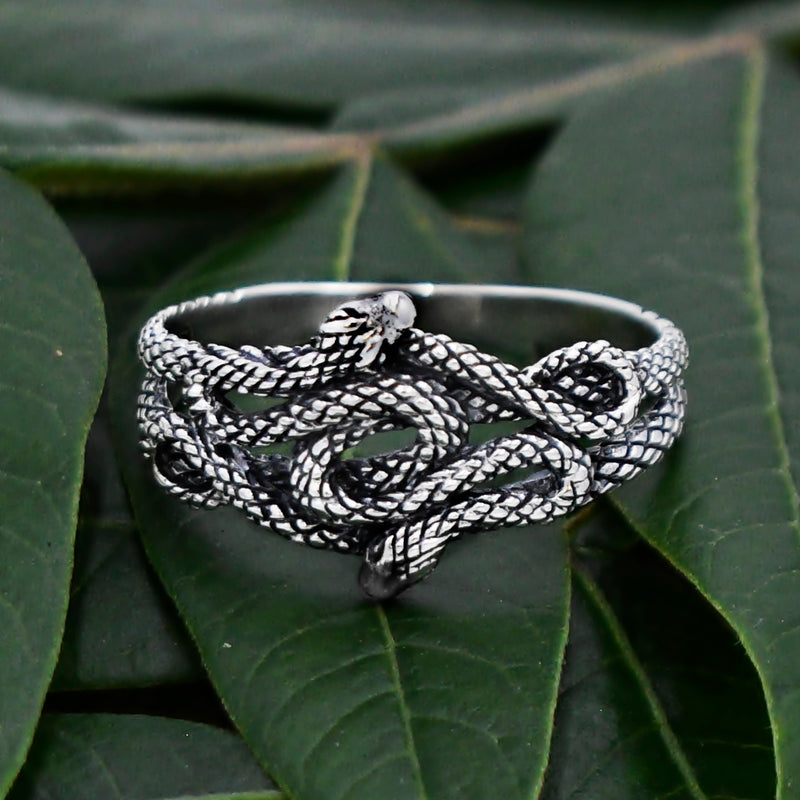 New Sterling Silver 925 Double Snake/Serpent Strike Position Ring