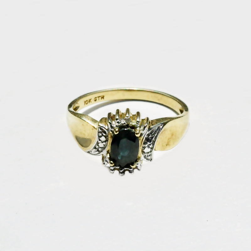 10k Yellow Gold Estate Swirl Diamond & Sapphire Gemstone Ring Size 6.5