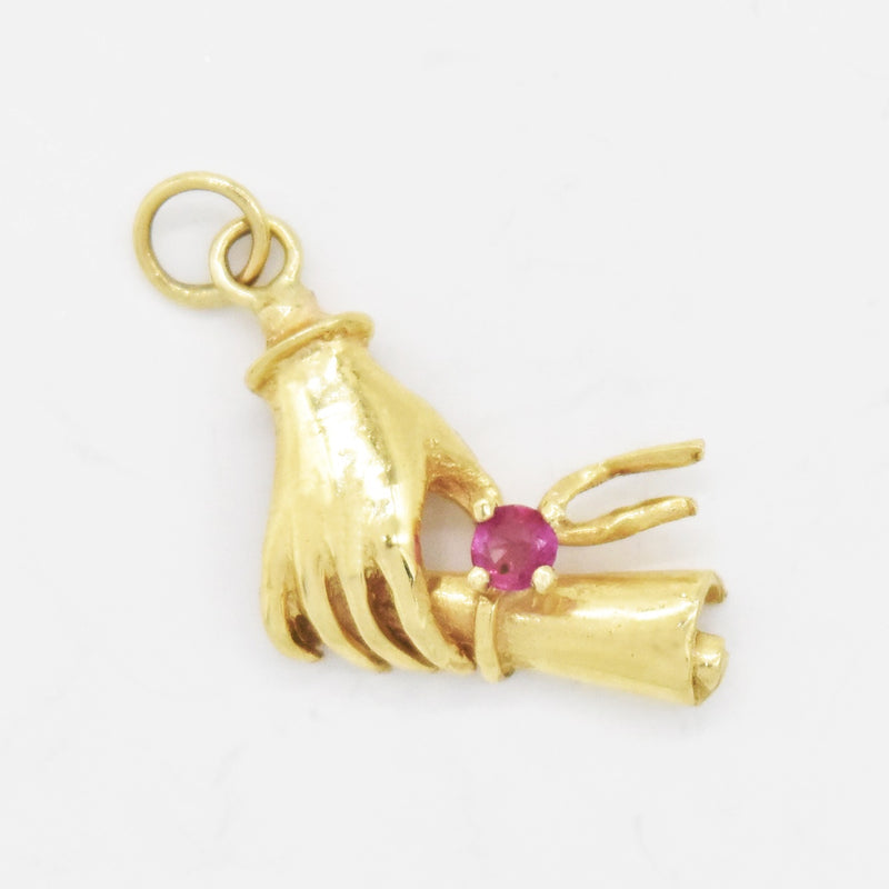 14k Yellow Gold Estate Graduation Diploma Ruby Hand Pendant/Charm