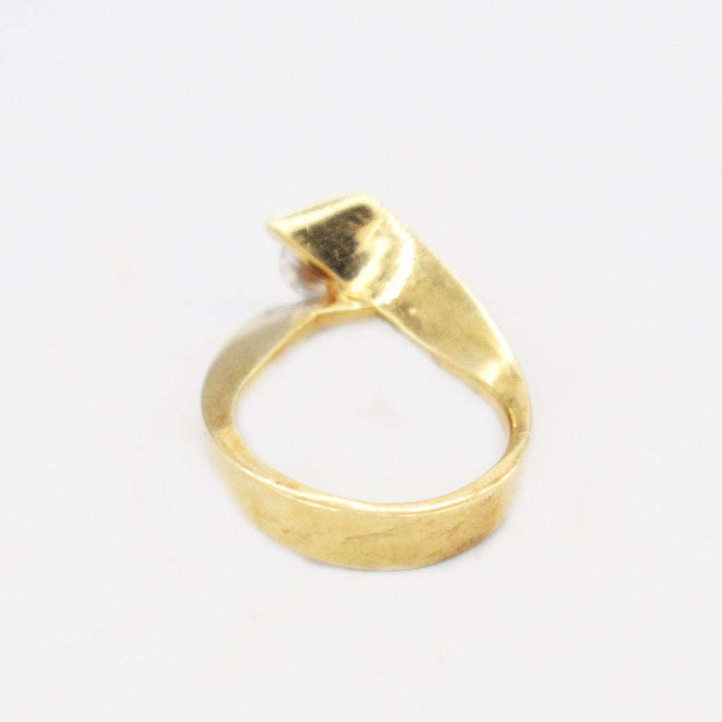 14k Yellow Gold Mid Century Modern Swirl CZ Engagement Ring Size 6