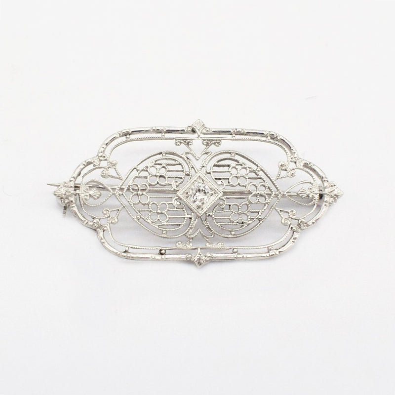 14k White Gold Antique Filigree Diamond 0.11 tcw Brooch/Pin