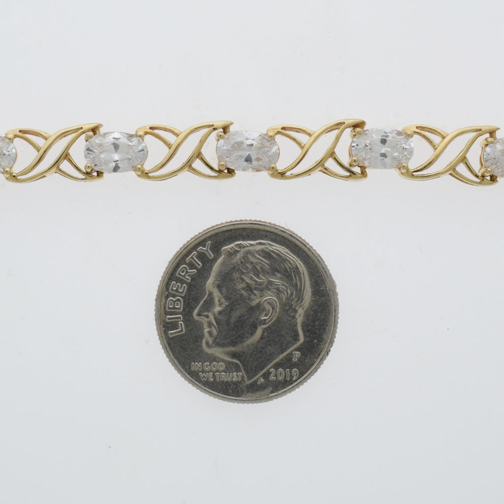 "10k Yellow Gold Estate CZ Double X Link Bracelet 7.25"" Long"