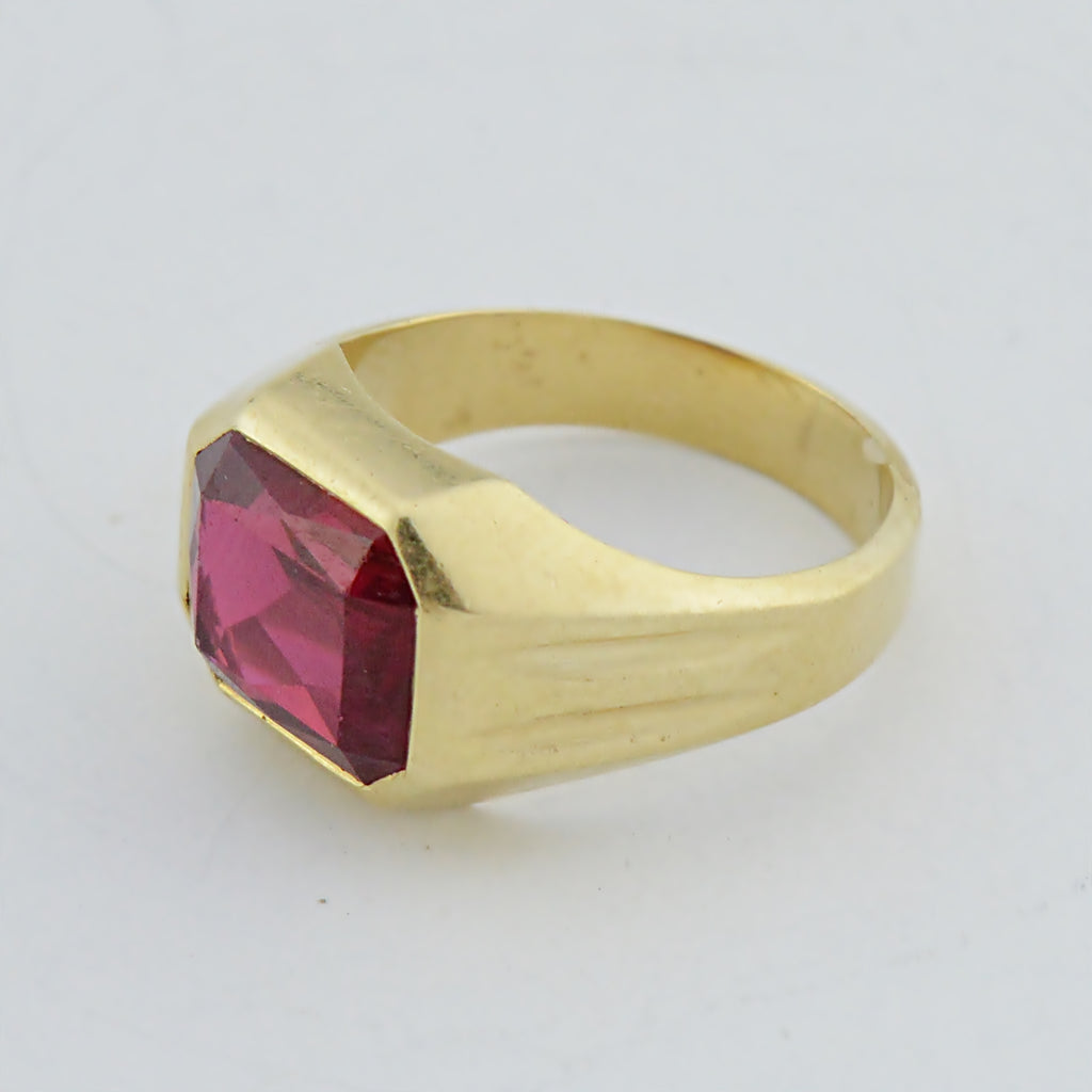 14k Yellow Gold Estate Red Topaz Ring Size 9