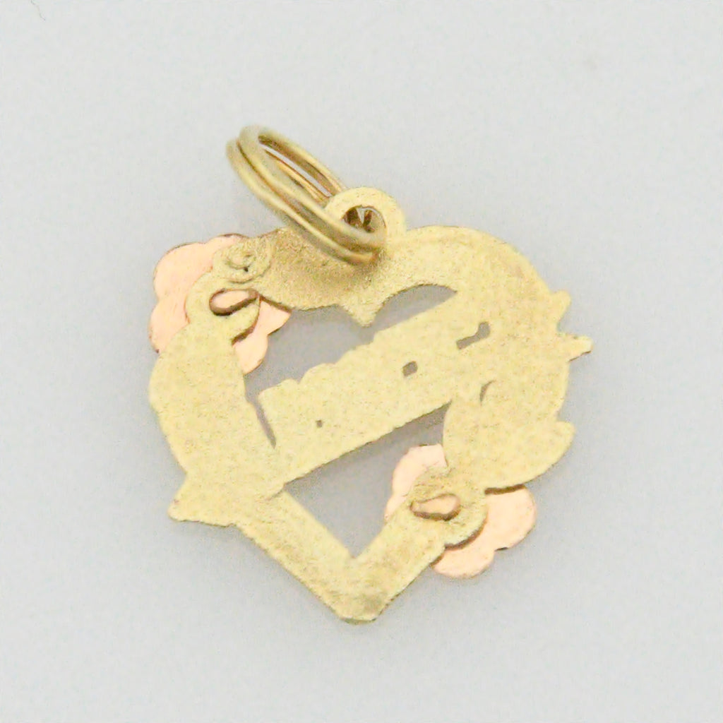 14k Tri/Multi Colored Gold Estate I Love You Heart Pendant/Charm