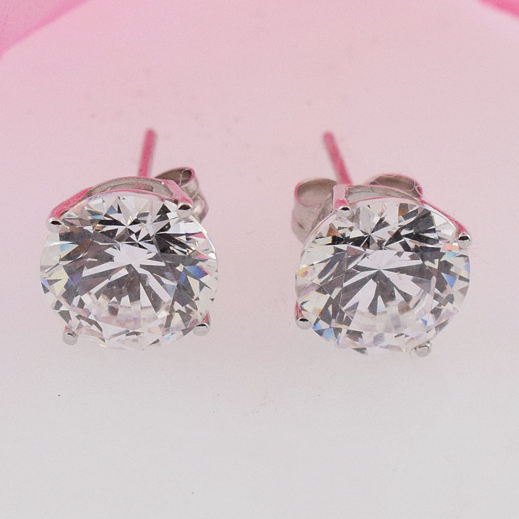 14k White Gold Estate CZ Stud Post Earrings