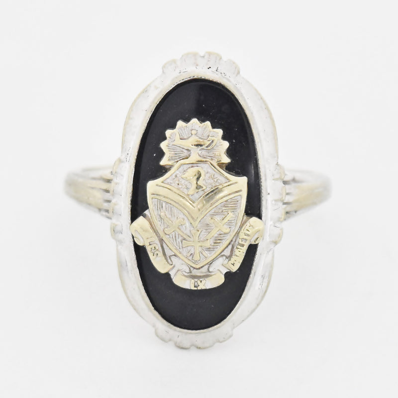 10k White Gold Antique Black Onyx Shield of Armor Ring Size 6.5