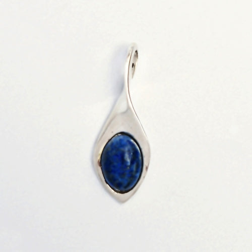 New Sterling Silver 925 Free Form Lapis Gemstone Dangle/Dangle Pendant