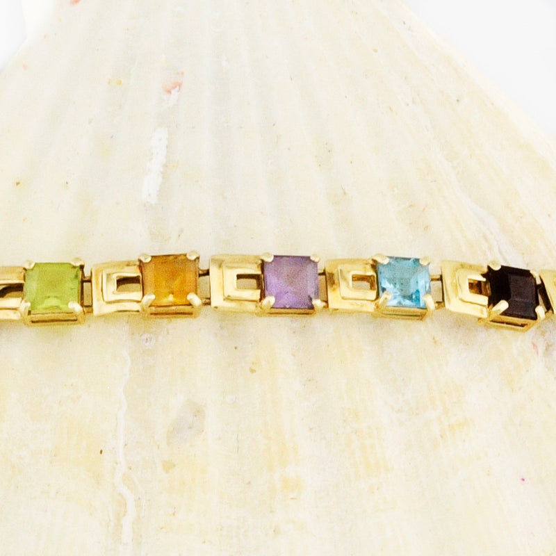 "14k Yellow Gold Estate Multi-Colored Gemstone Link Bracelet 7"" Long"