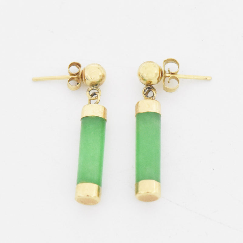 14k Yellow Gold Estate Jade Gemstone Drop/Dangle Post Earrings