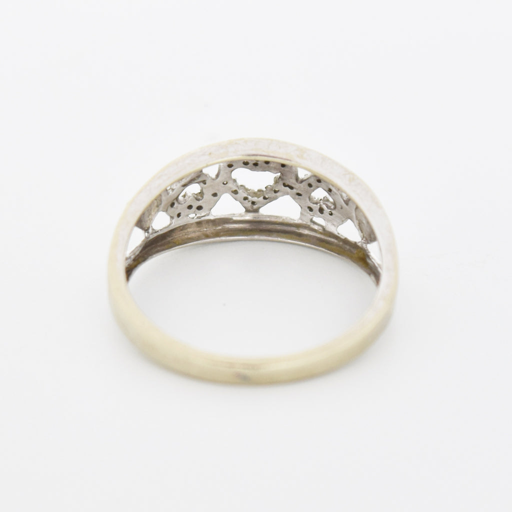 10k White Gold Vintage Filigree Diamond Band/Ring Size 7