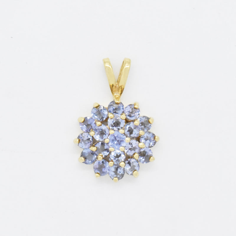 14k Yellow Gold Estate Circle Flower Tanzanite Pendant