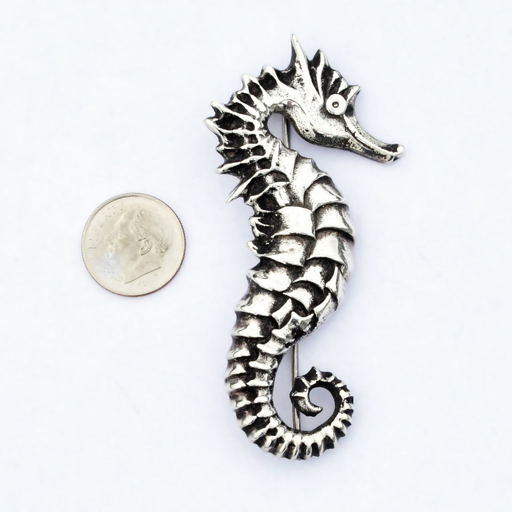 Sterling Silver 925 Estate Carved Nautical Sea Horse Animal Pin/Brooch