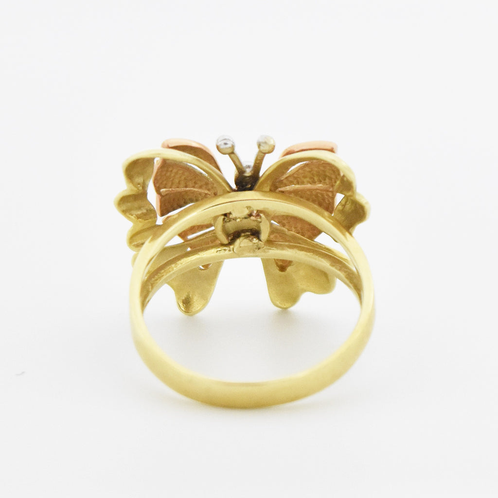 14k Tri-Colored Gold Estate Textured Open Work Butterfly Ring Size 9