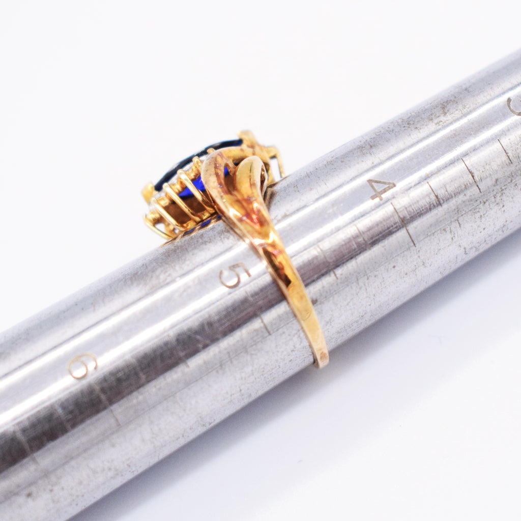 10k Yellow Gold Swirl Sapphire & Diamond Ring Size 4.75