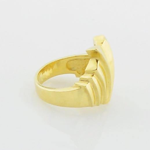 14k Yellow Gold Mid Century Modern Statement Ring Size 6