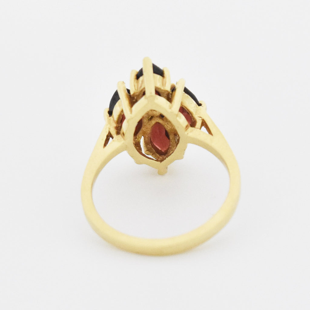 14k Yellow Gold Estate 4 Stone Garnet Cocktail Ring Size 5.75
