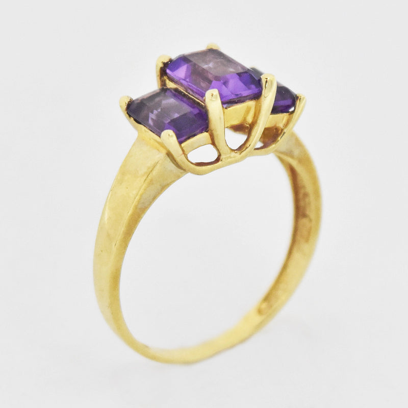 10k Yellow Gold Estate 3 Stone Amethyst Tier Ring Size 7