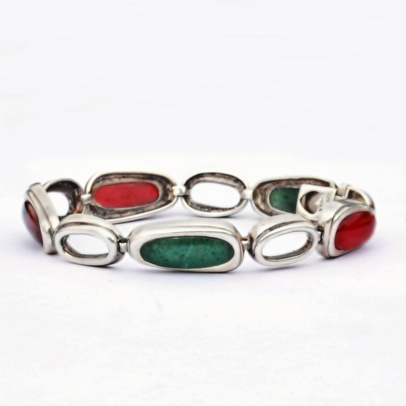 "Sterling Silver 925 Multi Color Oval Stone Link Bracelet 7 1/4"" Long"