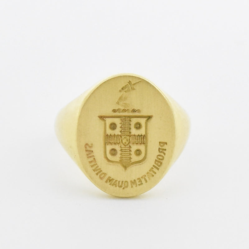 14k Yellow Gold Antique Probitatum Quam Divitias Signet Ring Size 9