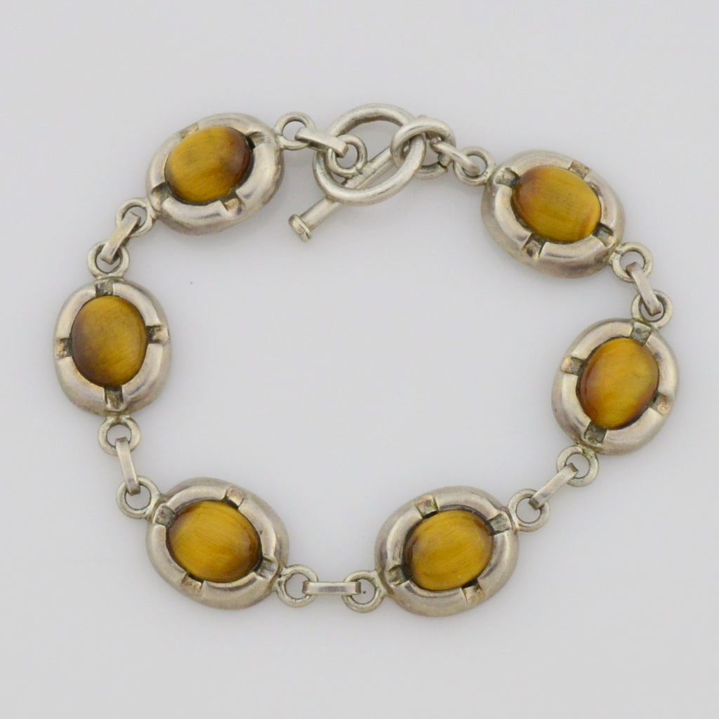"Sterling Silver 925 Estate Tiger Eye Bracelet 7 1/2"" Long"