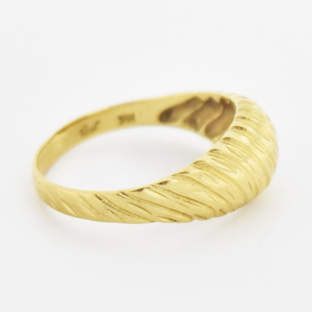 14k Yellow Gold Estate Swirl Textured Band/Ring Size 6