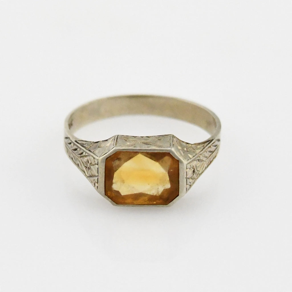 10k White Gold Antique Flower & Leaf Motif Citrine Ring Size 10.5