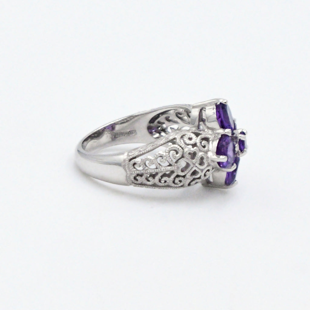 14k White Gold Estate Filigree Flower Amethyst Gemstone Ring Size 7
