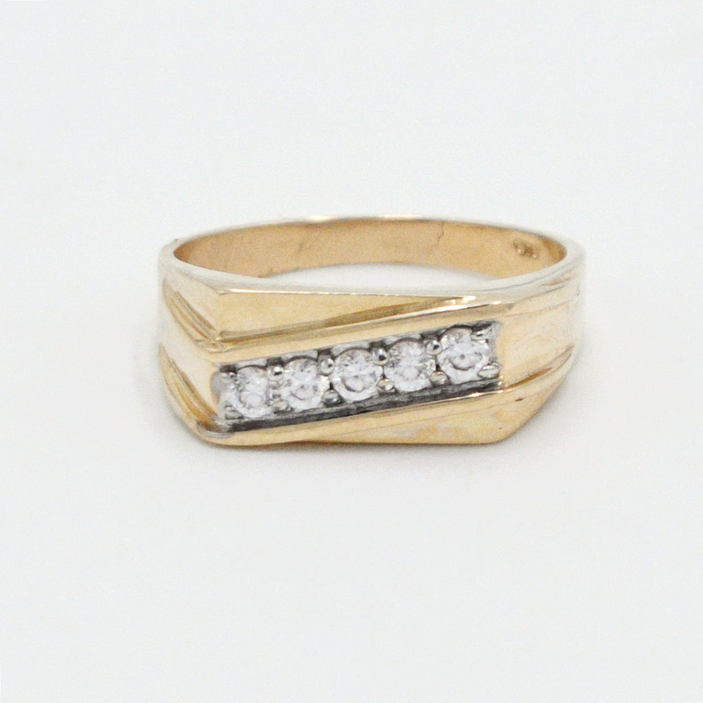 10k Yellow Gold Estate Textured CZ Gemstone Ring Size 12