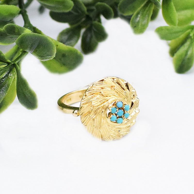 18k YG Diamond Cut Swirl Turquoise Ring Size 7.5
