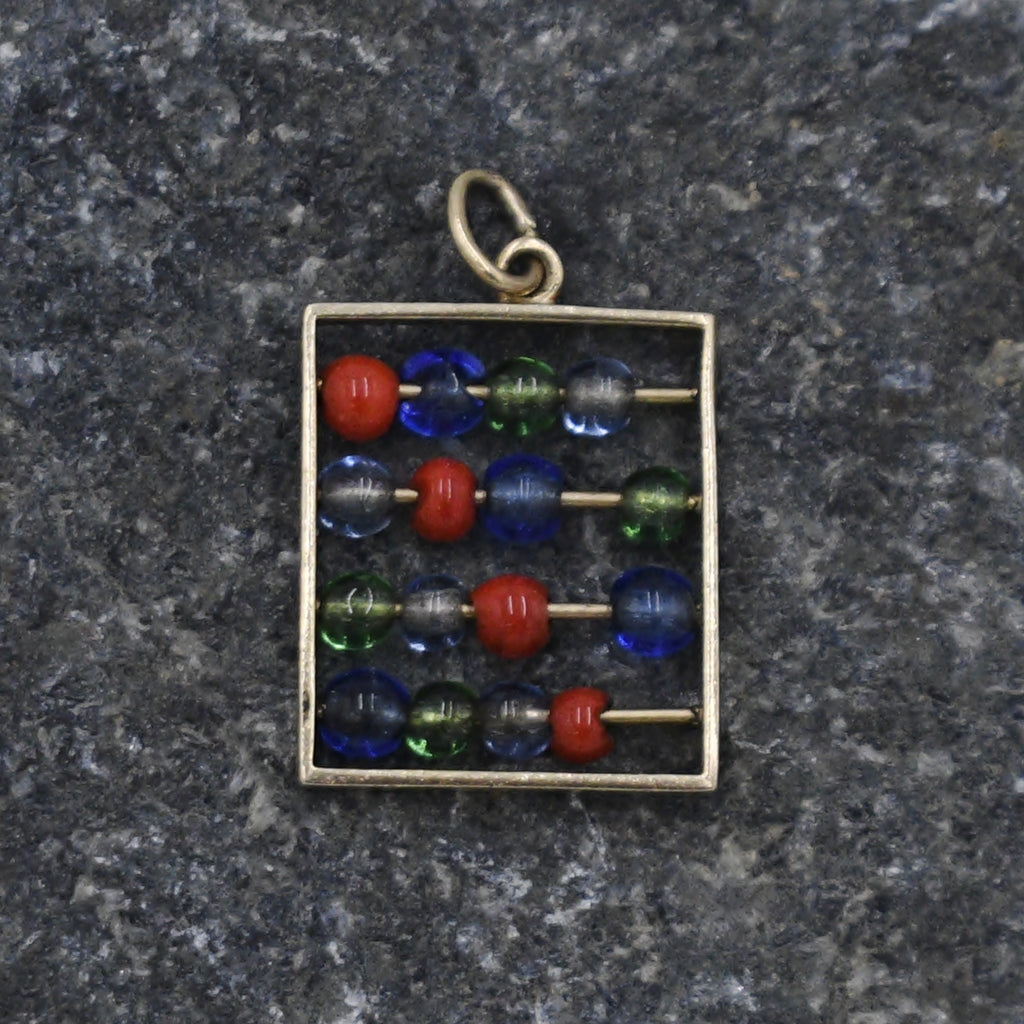 14k Yellow Gold Estate Chinese Abacus Mathematical Tool Pendant/Charm