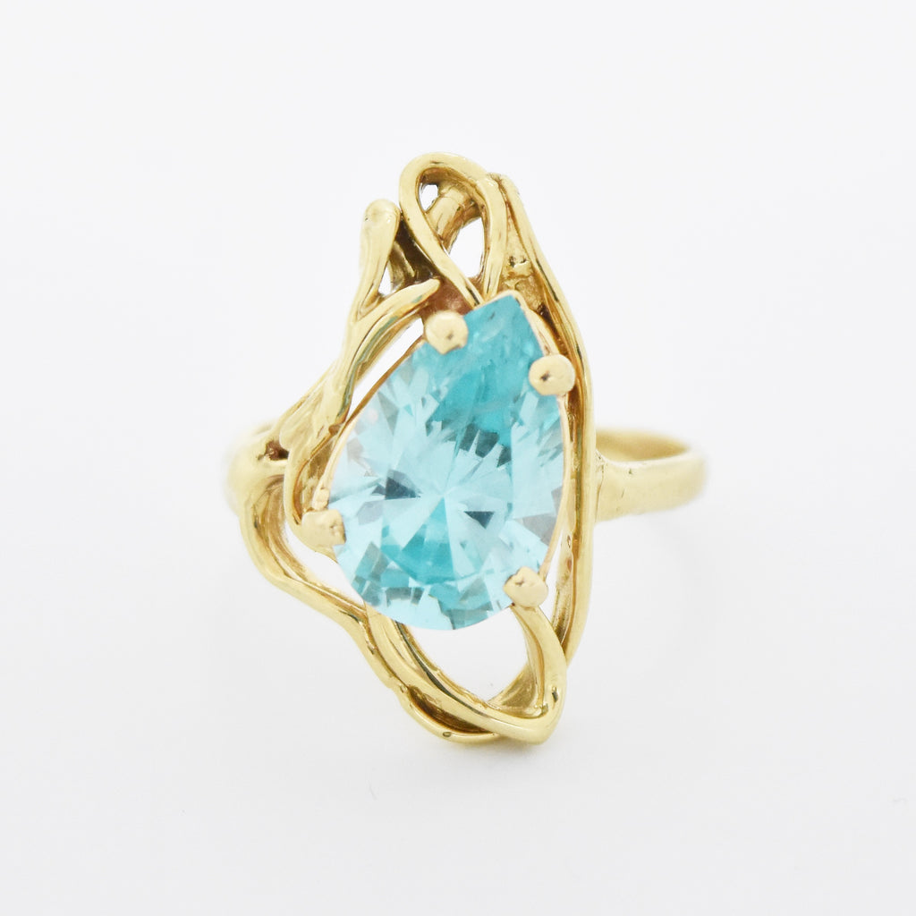 14k Yellow Gold Abstract Teardrop/Pear Spinel Ring Size 10.5
