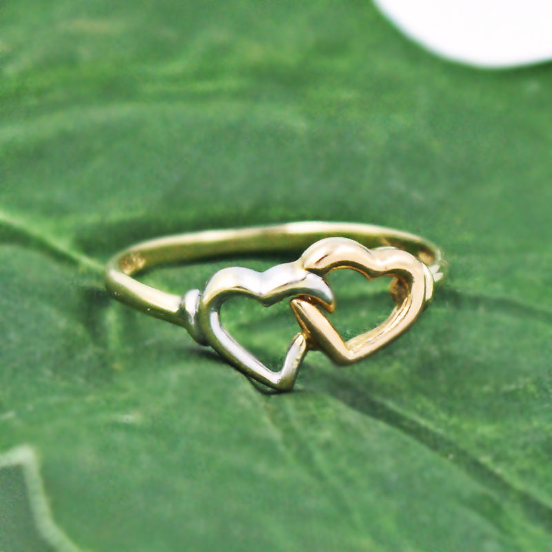 14k Tri-Colored Gold Estate Double Open Heart Ring Size 7