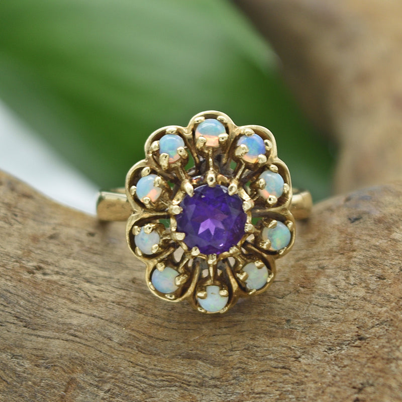 14k Yellow Gold Estate Fire Opal & Amethyst Ring Size 6.5