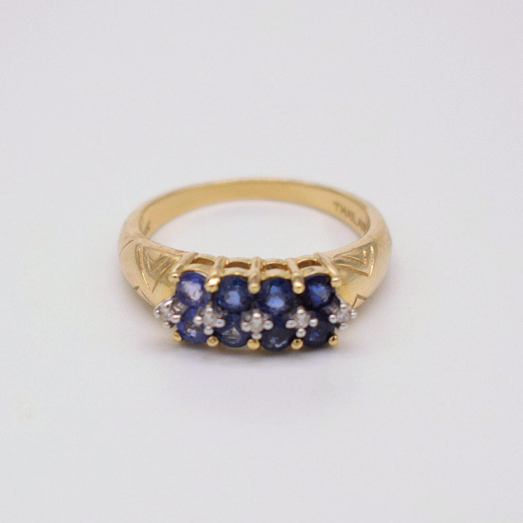 14k YG Double Row Sapphire & Diamond 0.05 tcw Ring Size 8