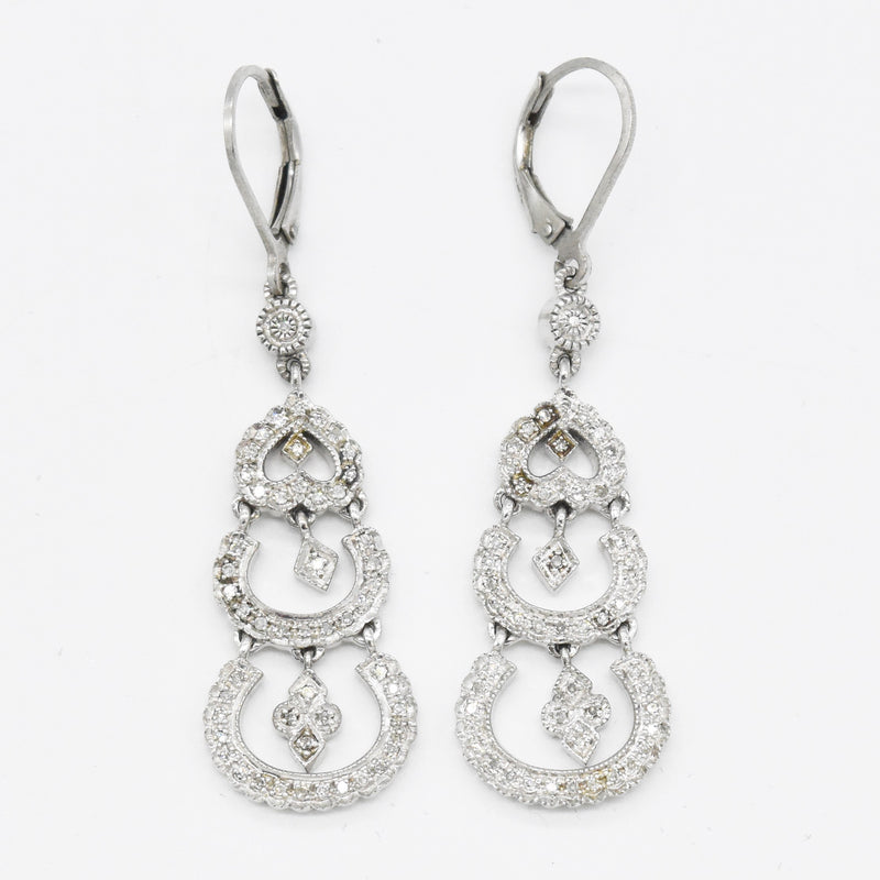 Sterling Silver 925 Leslie Greene Diamond Dangle Leverback Earrings