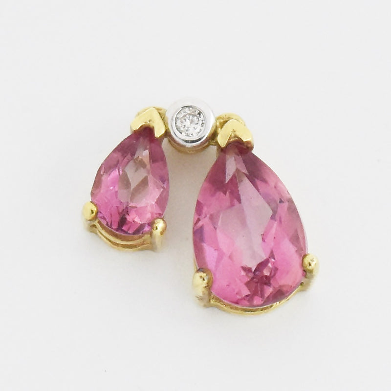 10k Yellow Gold Double Teardrop/Pear Pink Topaz & Diamond Drop Pendant