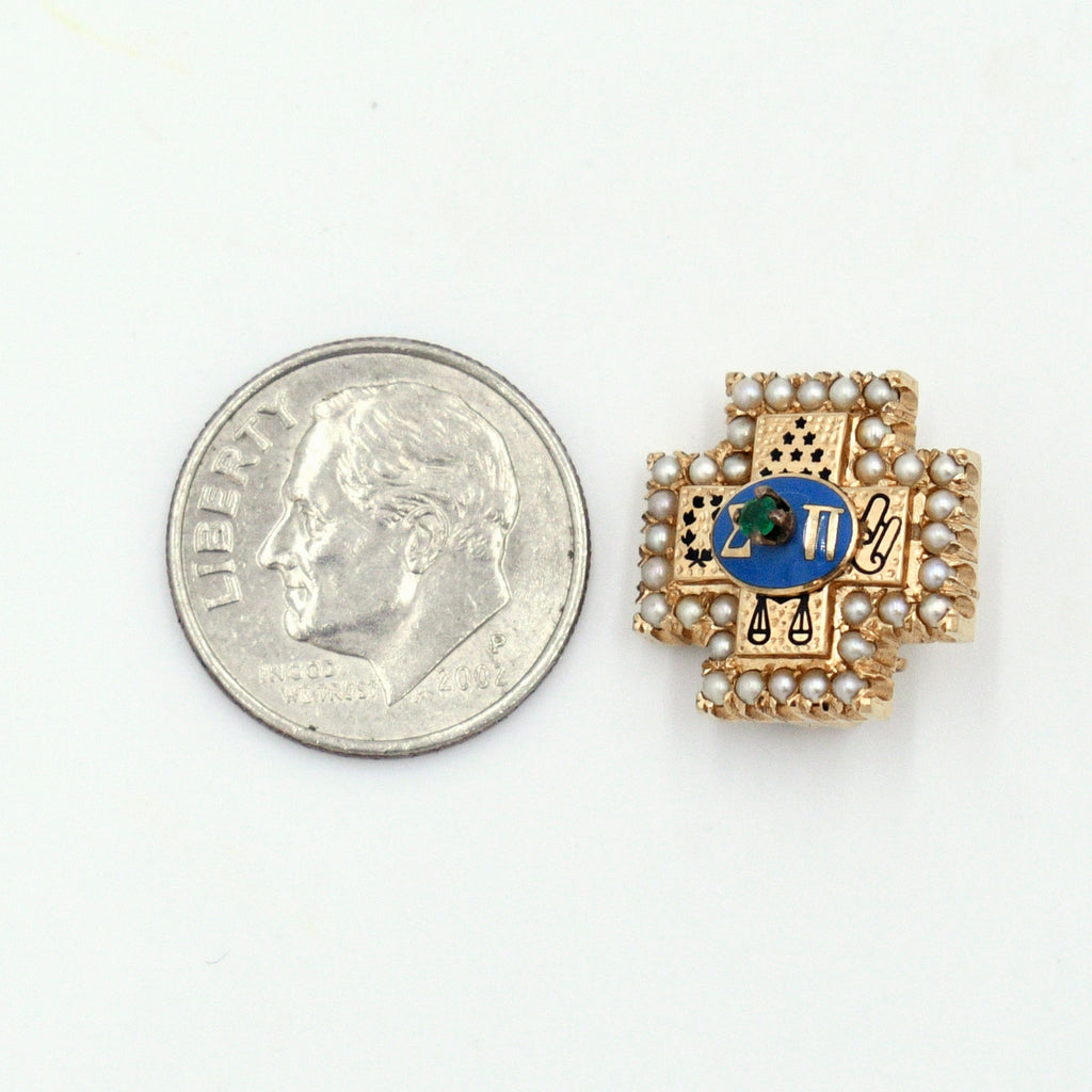 10k Yellow Gold Antique Enamel Pearl Epsilon Pi Fraternity Pin/Badge